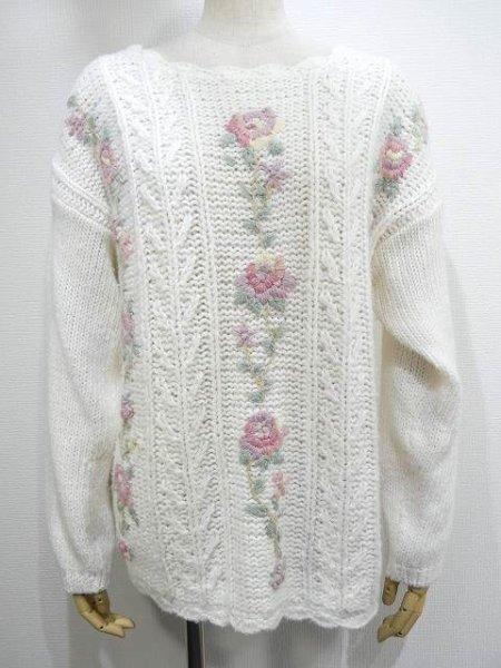 画像1: 〜90s Colleen's Collectables お花刺繍 ハンドメイド ニット セーター (1)