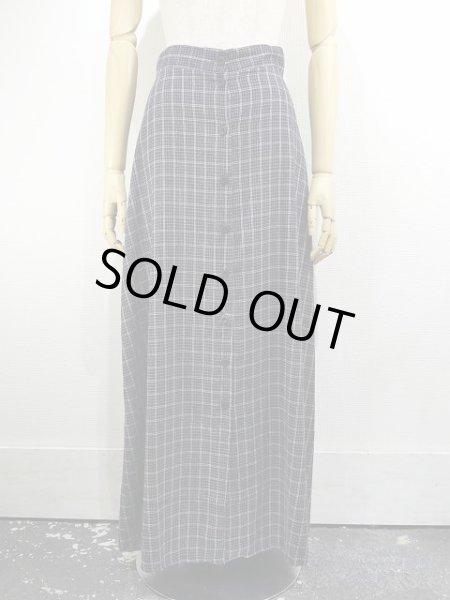 画像1: 90s M collection 前開き チェック ロング マキシ丈 スカート MADE IN CANADA (1)