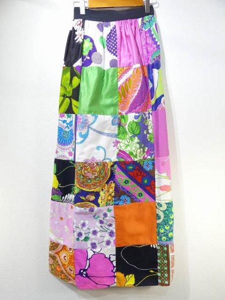 画像1: 60s 70s ビンテージ Alice レトロ サイケデリック ヒッピー ラップ ロング スカート 巻きスカート  (1)