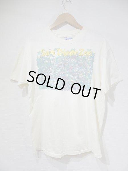 画像1: USA製 80s Hanes San Diego Zoo サンディエゴ 動物園 スーベニア 風景 絵画 プリント Tシャツ (1)