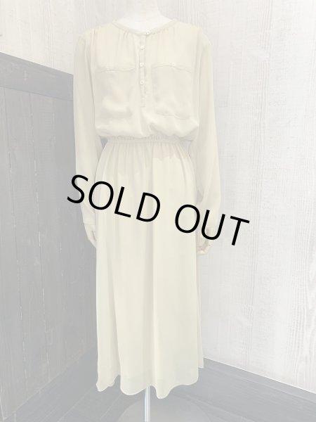 画像1: 80s ビンテージ Neiman Marcus ニーマンマーカス  ブライト イエロー ノーカラー ワンピース ドレス (1)