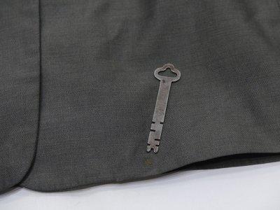 画像1: USA製 90s ビンテージ Calvin Klein Collection シルバーグレー 玉虫カラー シャークスキン シングル テーラード セット アップ スーツ